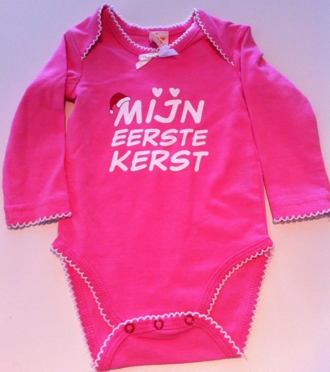 Babykleding Eerste Kerst.Roze Longsleeve Romper Mijn Eerste Kerst 74 80 Merkbabykledingsale